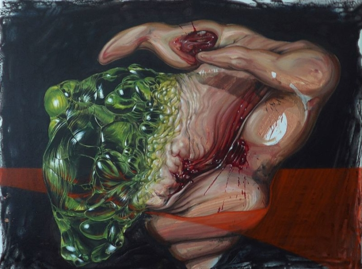 Apparat Exit 1 (Tod meines Vaters) 2018, 160 x 120 cm, Öl Acryl fluoreszierend auf Leinwand