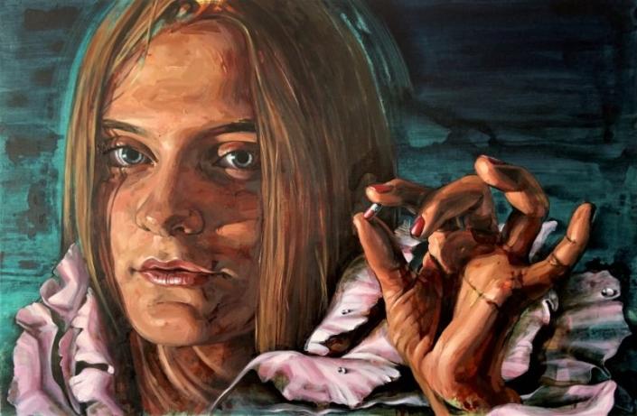 Kleines Stück 2, 2019, 80 x 120 cm, Öl Acryl Interferenzfarbe auf Leinwand